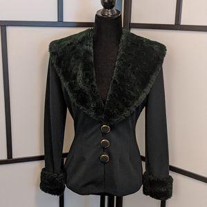 Joseph Ribkoff 1980s Faux-fur Trim Jacket